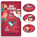 Bachelorette party. Women. Vector illustration for your design. Three girls celebrating hen party Royalty Free Stock Photography