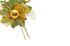 Bachground mit golden-grünen chrismas Dekorationen Lizenzfreie Stockfotografie