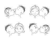 Baci di amore per il giorno o le nozze del ` s del biglietto di S. Valentino Fotografia Stock Libera da Diritti
