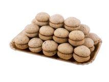 Baci di dama in vassoio. Baci di dama, typical Italian biscuits Stock Images