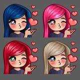 Baci felici della femmina delle icone di emozione con i capelli lunghi per le reti sociali e gli autoadesivi Immagine Stock Libera da Diritti