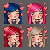 Baci felici della femmina delle icone di emozione con i capelli lunghi per le reti sociali e gli autoadesivi Fotografia Stock