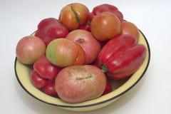 A bacia amarela transbordou com os tomates frescos vermelhos e cor-de-rosa e o vermelho Fotografia de Stock