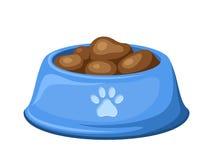 Bacia azul do cão com alimentação Ilustração do vetor Fotos de Stock Royalty Free