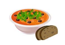 Bacia cerâmica de sopa com pão ilustração do vetor