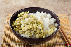 Bacia com arroz e galinha Imagens de Stock Royalty Free