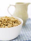 Bacia com leite da American National Standard dos cereais Fotos de Stock Royalty Free