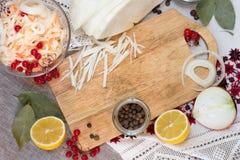 Bacia com os ingredientes do chucrute e da salmoura Imagem de Stock Royalty Free