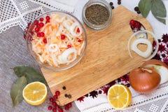 Bacia com os ingredientes do chucrute e da salmoura Foto de Stock