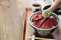 Bacia da carne assada de Wagyu Foto de Stock