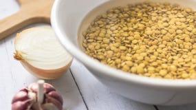 Bacia da lentilha com água ao lado da cebola e do alho fotos de stock royalty free