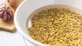 Bacia da lentilha com água no fundo branco foto de stock royalty free