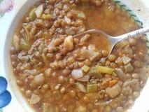 Bacia da sopa vegetal da lentilha imagem de stock royalty free
