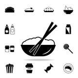 Bacia de ícone do arroz Grupo detalhado de ícones do alimento e da bebida Projeto gráfico da qualidade superior Um dos ícones da  fotografia de stock