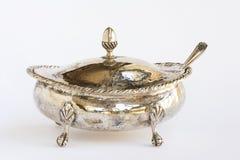 Bacia de açúcar de prata fotografia de stock royalty free
