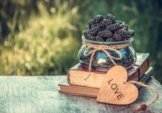 Bacia de amoreira recentemente escolhida no jardim na tabela Bagas do jardim do verão fotos de stock royalty free