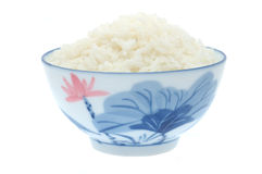 Bacia de arroz cozinhado foto de stock
