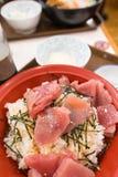Bacia de arroz do Sashimi Imagem de Stock