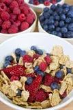 Bacia de cereais de pequeno almoço & de bagas saudáveis da fruta foto de stock
