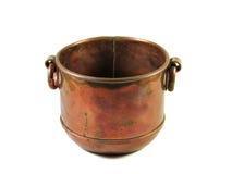 Bacia de cobre decorativa isolada Imagens de Stock