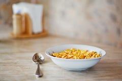 Bacia de flocos de milho Fotografia de Stock