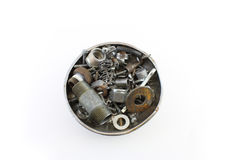 Bacia de hardware velho sortido Fotografia de Stock Royalty Free