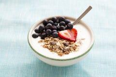 Bacia de muesli, de iogurte e de bagas Fotos de Stock