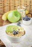 Bacia de papa de aveia da farinha de aveia com Apple, a banana, os mirtilos, mel e as sementes verdes de Chia Fotografia de Stock