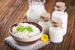 Bacia de requeijão e de leite Fotografia de Stock