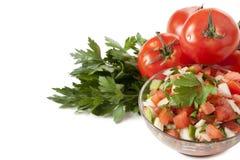 Bacia de salsa com tomates e aipo Foto de Stock