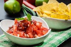 Bacia de salsa fresca com microplaquetas de tortilha fotos de stock