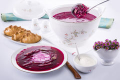 Bacia de sopa com beterrabas, creme de leite Fotos de Stock
