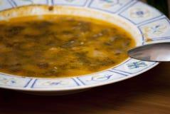 Bacia de sopa com colher Imagens de Stock