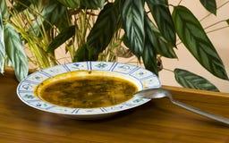 Bacia de sopa com colher Imagem de Stock
