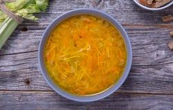 Bacia de sopa de estoque de galinha com macarronetes, cenouras e cebolinha Imagem de Stock