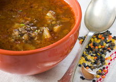 Bacia de sopa de lentilha no guardanapo de linho Imagens de Stock Royalty Free