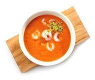 Bacia de sopa do creme do tomate Imagem de Stock