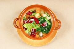 Bacia de sopa do minestrone imagens de stock royalty free