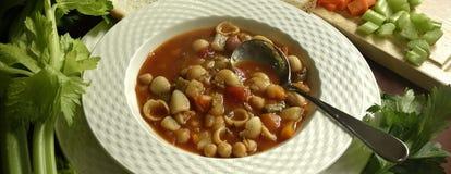 Bacia de sopa e de colher de Minestone Fotografia de Stock