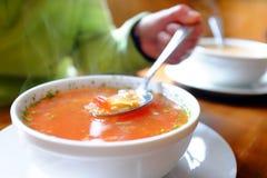Bacia de sopa vegetal quente e de mão que guardam a colher Imagem de Stock