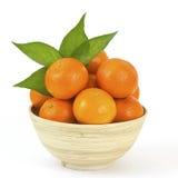 Bacia de tangerines frescos Fotografia de Stock