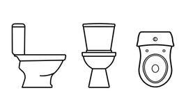 Bacia de toalete Ícones isolados em cinzento e em branco ilustração stock
