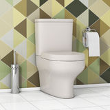 Bacia de toalete branca com papel higiênico e a escova metálica do toalete dentro Imagem de Stock Royalty Free