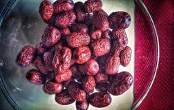 Bacia deliciosa de datas chinesas vermelhas Imagens de Stock