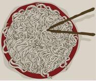 Bacia desarrumado de macarronetes desenhados mão ilustração do vetor