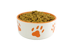 Bacia do cão com alimento de animal de estimação Fotografia de Stock Royalty Free