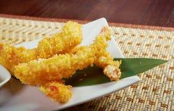 Bacia do tempura de Ebi do camarão fotografia de stock
