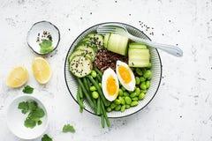 Bacia dos vegetais do arroz Arroz perfumado vermelho do jasmim com edamame dos feijões de soja, os feijões de corda finos, pepino Imagem de Stock