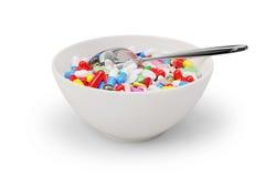 Bacia e colher do café da manhã da medicina Imagem de Stock Royalty Free