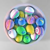 Bacia enchida com os ovos da páscoa Imagem de Stock